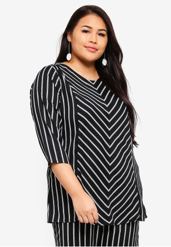Ex'otico black Plus Size Striped Long Blouse 33CA6AA3FBA556GS_1