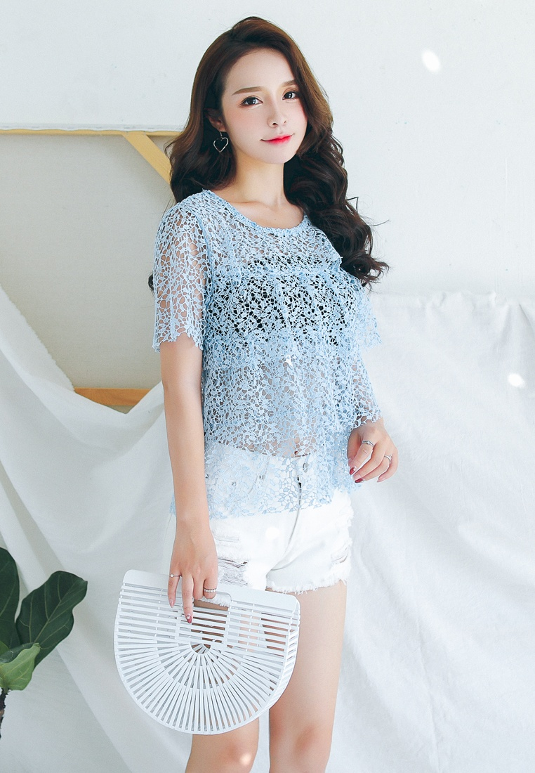 Shopsfashion Sleeved Blue Short blouse lace in Blue 6qx65r0