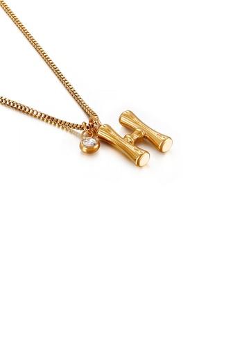 Glamorousky 白色 時尚簡約鍍金色英文字母H 316L鋼吊墜配鋯石及項鏈 000CFAC8B38E2FGS_1