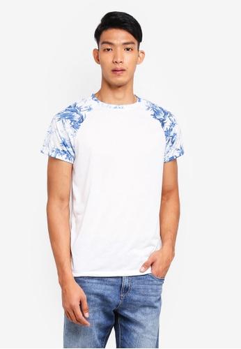 Burton Menswear London white White And Blue Floral Raglan T-Shirt 9671BAAA392996GS_1