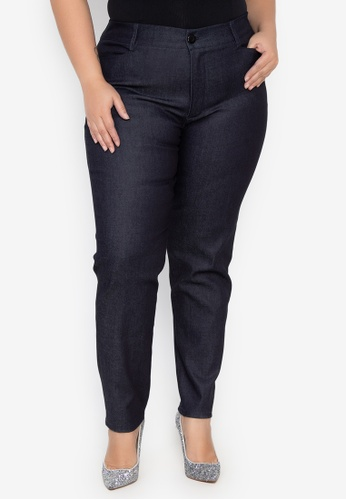 D Fashion Engineer navy Wear-to-Work Chambray Plus Size Stretch Pants A5351AA8453FEEGS_1