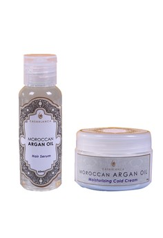 Moroccan Argan Oil Moisturizing Cold Cream 100g (Elite) with Moroccan Argan Oil Hair Serum 60ml (Elite) Bundle