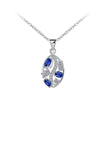 Glamorousky white Fashion Pop Leaf Pendant with Blue Austrian Element Crystal and Necklace 0237EAC5DECB36GS_1