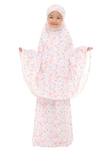 SITI KHADIJAH pink Siti Khadijah Telekung Deco Sofea Cilik in Nude 04B78AAF505453GS_1