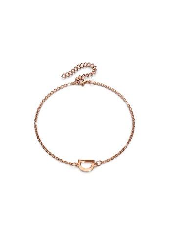 Bullion Gold gold BULLION GOLD Bold Alphabet Letter Initial Charm Bracelet in Rose Gold Tone - D 5520BACC08731BGS_1