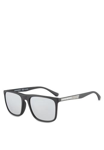 Emporio Armani black Gray & Black EA4097F Polarized Sunglasses EM212GL0RNINMY_1