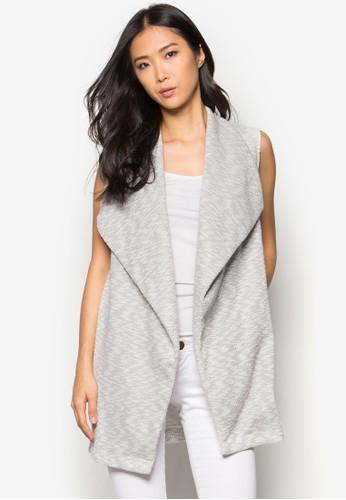 zalora 衣服評價Grey Waterfall Snit Jacket, 服飾, 夾克 & 大衣