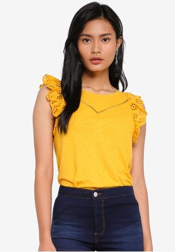 Miss Selfridge yellow Ochre Victoriana Sleeveless Top 181FAAA73DAD81GS_1