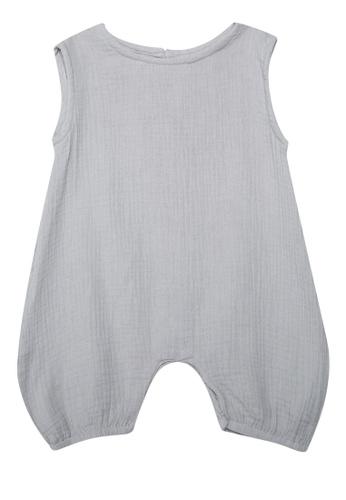 Petit l' ange children's wear grey Sleeveless Linen Romper 9E43CKA9107B65GS_1