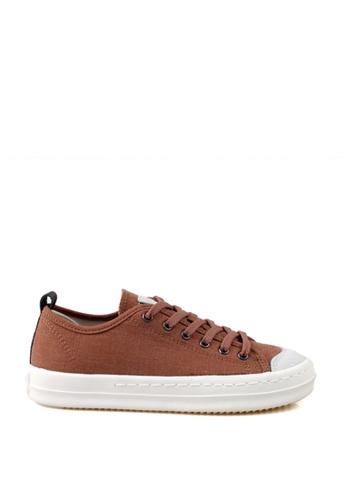J.DAUL 褐色 經典厚底真皮帆布休閒鞋 JD556SH09Q5ATW_1