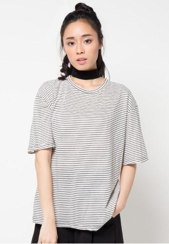Envy Look white Thin Stripe T-Shirt EN694AA27CSIID_1