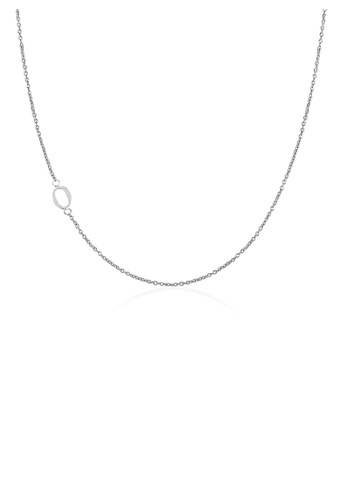 Moody Mood silver .925 Sterling Silver Sideway Letter O Necklace (18k white gold plating) 9C377ACA5BF188GS_1