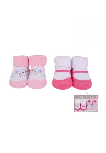 Little Kooma white and pink Baby Anti-slip Socks 2 Pair Pack 0-9 months BC71179 - 0805 6422CKAF5FE3A3GS_1