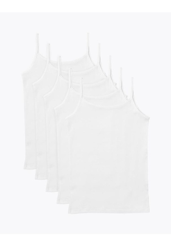 MARKS & SPENCER white M&S 5 Pack Pure Cotton Camisoles CEACAKA861600BGS_1