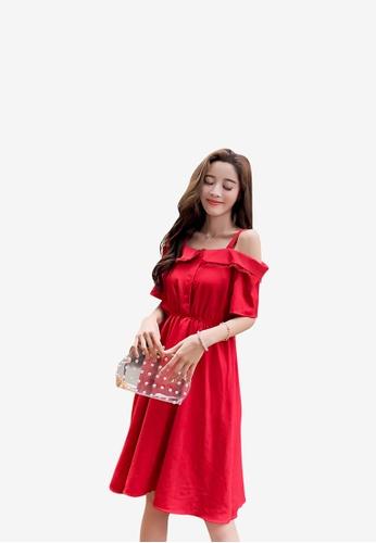 hk-ehunter red Off Shoulder Solid Colored A-Line Dress 7464CAA5B405A3GS_1