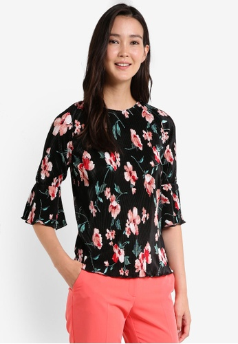 Dorothy Perkins black Floral Print Plisse Top DO816AA0RCGYMY_1
