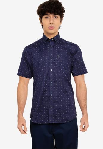Ben Sherman blue Scattered Geo Print Shirt A3421AA0D74CF8GS_1