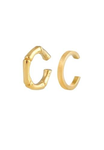 Elli Germany gold Perhiasan Wanita Perak Asli - Silver Anting Earcuff Bamboo Gold Plated 1104EAC9AD29C7GS_1