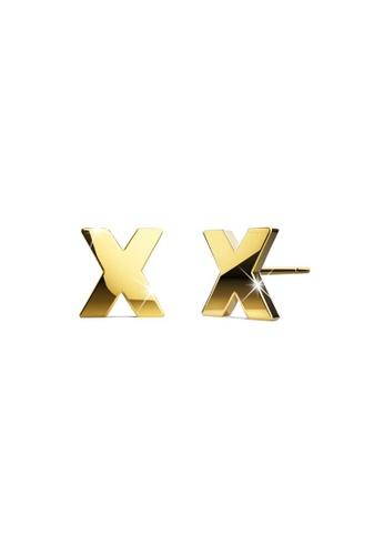 Bullion Gold gold BULLION GOLD Dainty Alphabet Letter Earring Gold Layered Steel Jewellery - X 420B0AC11A7E8EGS_1