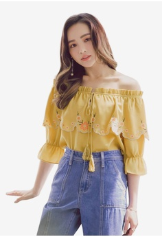 ae4878080 Yoco yellow Embroidered Off-Shoulder Tie Blouse E8625AA51C18DAGS_1