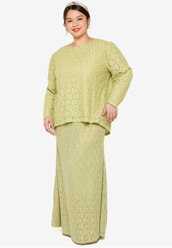Lubna green Plus Size Puff Sleeve Lace Kurung 98FB8AA53D4CA5GS_1