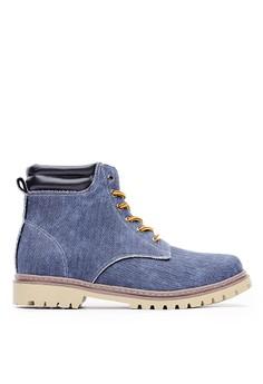 Casual 率性水洗帆布 簡約六孔短靴-09739-深藍