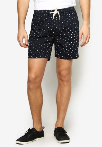 印花抽繩沙灘短褲, esprit地址服飾, 服飾