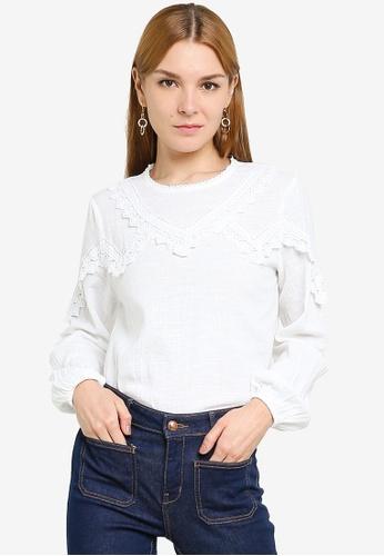 JACQUELINE DE YONG white Lyon Life Lace Top B6025AA04BC041GS_1