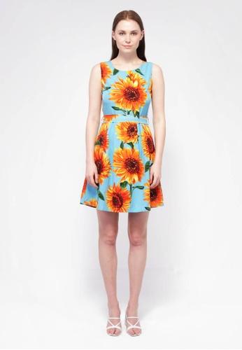 nicole blue nicole - Round Neckline Sleeveless Floral Dress B1659AAAE2C197GS_1