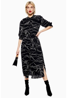 cc181558 TOPSHOP black Horse Print Midi Shirt Dress 1DB35AAD4B9FF7GS_1