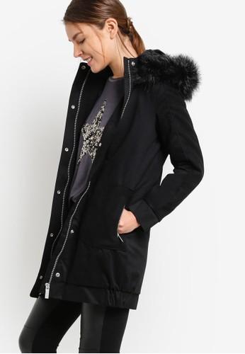 zalora 心得布料混合毛絨風衣外套, 服飾, 外套