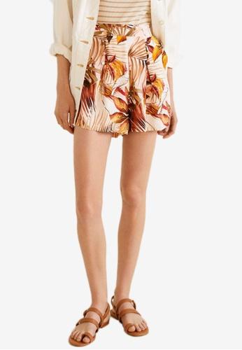 Mango white Tropical Print Shorts B784CAA727B94EGS_1