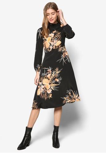 印花高領長袖及膝連身裙, 服飾,esprit門市 洋裝