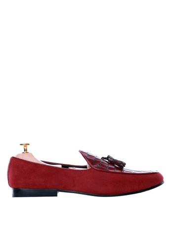 Zeve Shoes red Zeve Shoes Belgian Loafer -  Red Crocodile Leather 75351SH51157A6GS_1