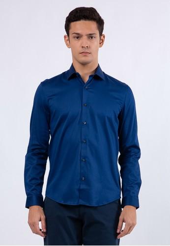 The Executive blue Basic Long Sleeves Shirt 366A7AA59D160EGS_1