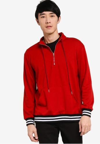 ZALORA BASICS red Half Zip Sweater 9C6E8AAC433799GS_1