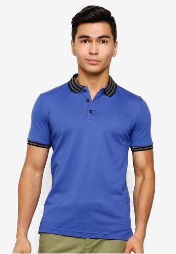 UniqTee blue Slim Fit Bomber Stripe Polo Shirt 0D8BDAAC989C17GS_1
