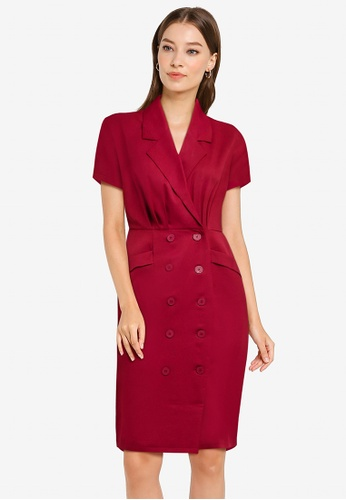 ZALORA WORK red Collared Button Down Dress 5F664AA1896607GS_1