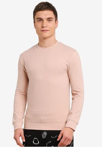 Topman beige Nude Ultra Muscle Fit Sweatshirt TO413AA0SC1ZMY_1