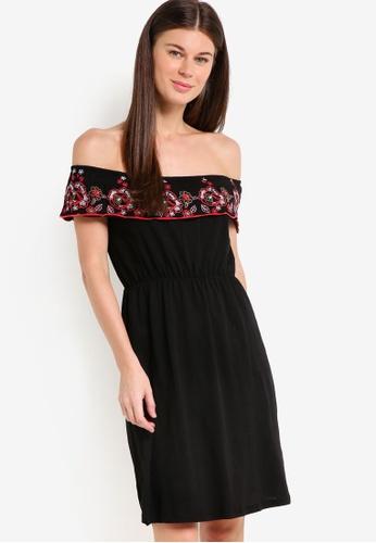 Dorothy Perkins black Embroidered Bardot Dress DO816AA78POVMY_1