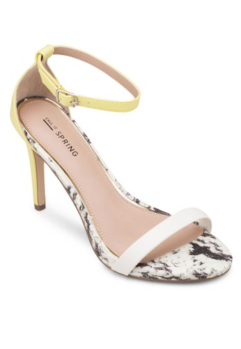 Balewen 一字帶繞踝高跟鞋, 女鞋zalora退貨, 鞋