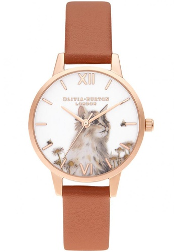 Olivia Burton gold Olivia Burton Illustrated Animals HONEY TAN VEGAN MATERIAL Women's Watch (OB16WL87) 047F5ACB7BB55CGS_1