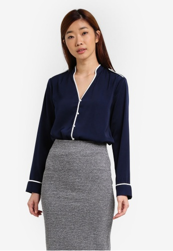ZALORA navy Piping Detail Blouse BED72AADAC00BCGS_1