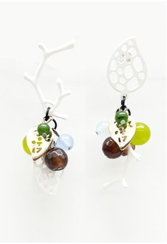 Leaf with Cute Colorful Balls Dangling Earrings