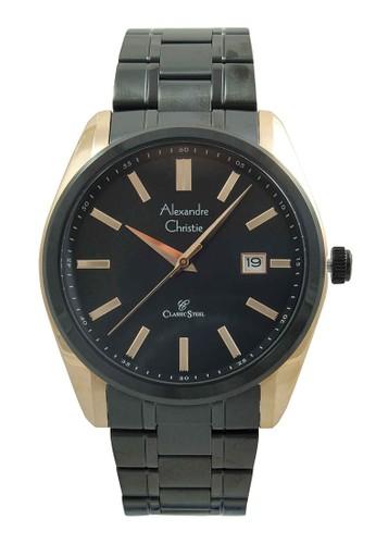Alexandre Christie black Alexandre Christie Jam Tangan Pria - Black Rosegold - Stainless Steel - 8514 MDBBRBA AL709AC05IYKID_1