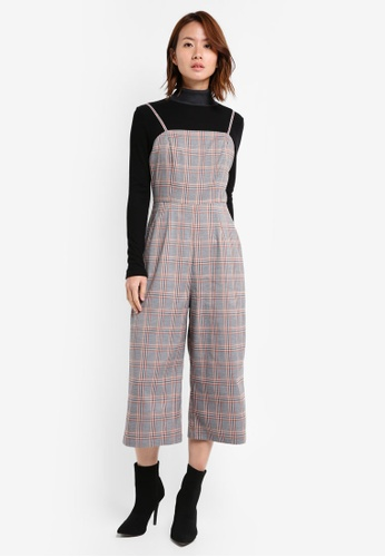 ZALORA grey Gingham Jumpsuit A5C76AA00681A1GS_1