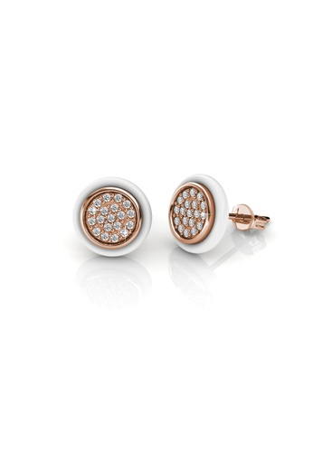 Her Jewellery white and gold Her Jewellery Round Ceramic Earrings (White) with 18K Gold Plated HE210AC60TIHSG_1
