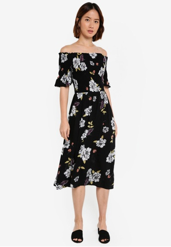 Dorothy Perkins black Black Bloom Shirred Midi Dress D39DDAA241C59DGS_1