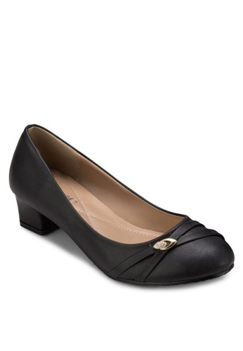 閃鑽交叉esprit 品牌帶圓頭低粗跟鞋, 女鞋, 鞋
