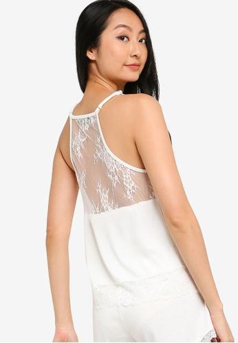 ZALORA BASICS 白色 Lounge 綢緞& 蕾絲後細肩帶上衣 F0686AAB4BA321GS_1